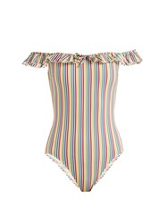 Solid And Striped The Amelia Off The Shoulder Swimsuit Multi Stripe