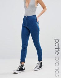 Missguided Petite Highwaisted Super Stretch Jean Blue