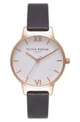 Olivia Burton Women's Midi Dial Leather Strap Watch 30Mm Black White Rose Gold