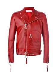 Off White Zip Up Biker Jacket Red
