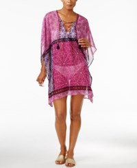 Tommy Bahama Geo Tiles Sheer Lace Up Cover Up Tunic Women's Swimsuit Wild Orchid