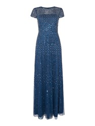 Adrianna Papell Petite Sequin Beaded Gown Deep Blue