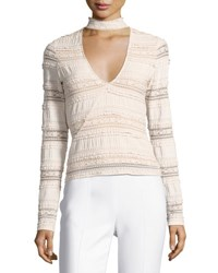 Cinq A Sept Cecily Lace Choker V Neck Top Ivory