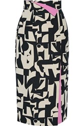 Roksanda Ilincic Bahari Printed Canvas Skirt Black