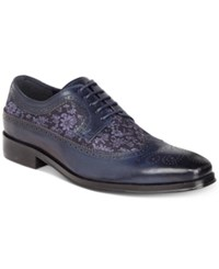 Tallia Men's Sergio Mixed Media Tweed Oxfords Men's Shoes Navy Light Blue