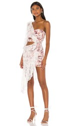 For Love And Lemons Dallas One Shoulder Dress In White. Country Floral