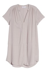 Lush Split Neck Shift Dress Cloud Grey
