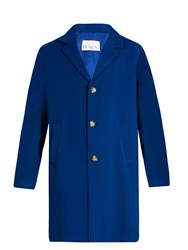 Raey Three Button Wool Blend Coat Blue