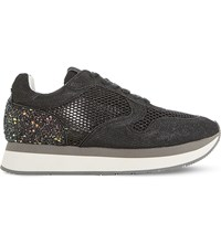 Dune Black Everlynn Glitter Mesh And Leather Trainers Black Glitter