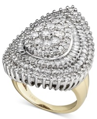 Macy's Pear Diamond Cluster Ring In 14K White Gold And 14K Gold 3 Ct. T.W.