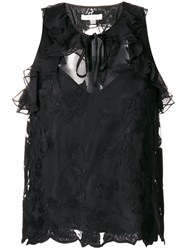 Three Floor Frill Lace Top Polyamide Polyester Black