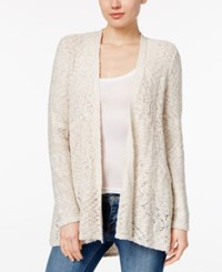 Styleandco. Style Co. Petite Open Front Pointelle Cardigan Only At Macy's Natural Heather Warm Ivory