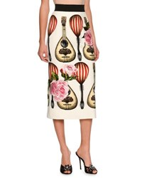 Dolce And Gabbana Guitar Embroidered Midi Skirt Beige