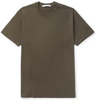 Givenchy Columbian Fit Silk Trimmed Cotton Jersey T Shirt Army Green