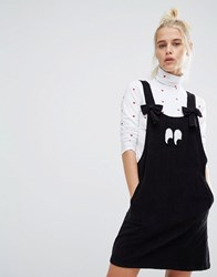 Lazy Oaf Bow Strap Eyeball Pinafore Dress In Corduroy Black