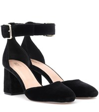 Red Valentino Velvet Block Heel Pumps Black