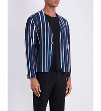 Homme Plisse Issey Miyake Pleated Striped Woven Cardigan Blue Wide Stripe