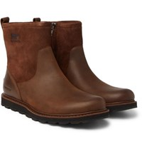 Sorel Madson Shearling Lined Waterproof Leather And Suede Boots Tan