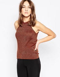 Vila High Neck Sleeveless Sparkle Top Portroyale