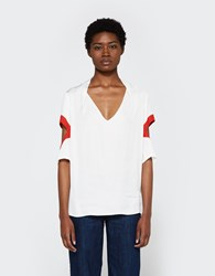 Frankie Cut Out Sleeve Blouse White Red