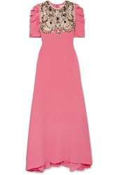 Reem Acra Embellished Tulle Paneled Silk Crepe De Chine Gown Pink