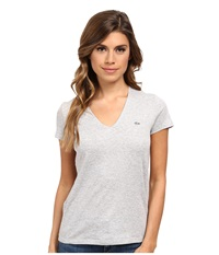 Lacoste Short Sleeve Classic V Neck Tee Silver Grey Chine Women's T Shirt Gray