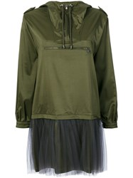 Moschino Tulle Layer Nylon Hoodie Dress Women Polyamide Polyester Acetate Other Fibres 38 Green