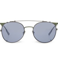 Kris Van Assche Kva69 Curved Brow Combination Aviator Sunglasses Green And Grey