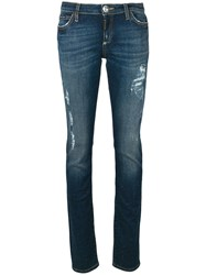Philipp Plein Low Rise Ripped Skinny Jeans Blue