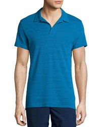 Orlebar Brown Felix Johnny Collar Polo Shirt Blue Pacific