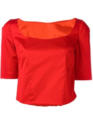 Ultrachic Sweetheart Neck Blouse Red