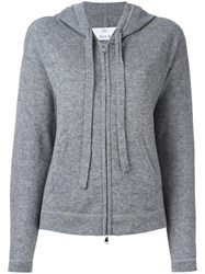 Allude Hooded Zipped Cardigan Grey