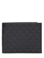 Emporio Armani Logo Printed Classic Leather Wallet Black