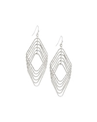 Fragments For Neiman Marcus Fragments Diamond Shape Metal Frame Drop Earrings Silvertone
