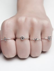 Pixie Market Fashionology Tiny Silver Letter Ring