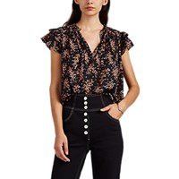 Ulla Johnson Ida Floral Cotton Silk Tieneck Top Black