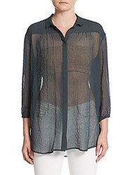 Atm Anthony Thomas Melillo Sheer Button Front Shirt Evergreen