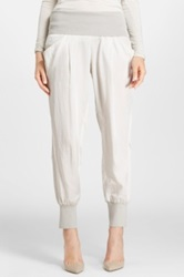Donna Karan Cotton And Silk Track Pants White
