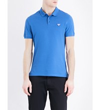 Armani Jeans Logo Embroidered Cotton Pique Polo Shirt Blue