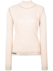 Fendi Ribbed Turtle Neck Jumper Orange