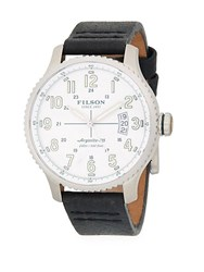 Filson Mackinaw Stainless Steel And Leather Strap Watch Black