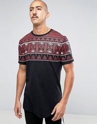 Asos Super Longline T Shirt With Coloured Yoke Aztec Print And Curved Hem Black
