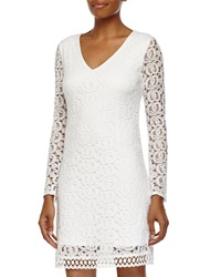 Laundry By Shelli Segal Long Sleeve Lace Shift Dress Optic White