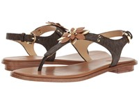 Michael Michael Kors Heidi Thong Brown Acorn Mini Mk Logo Pvc Vachetta Women's Sandals