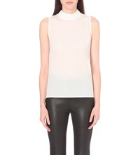 French Connection Polly Plains Mock Neck Jersey Top Winter White
