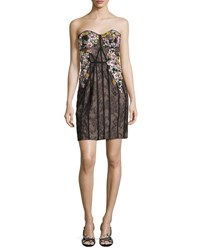 Marchesa Strapless Floral Embroidered Lace Corseted Dress Black