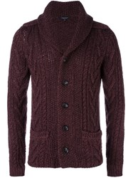 Roberto Collina Cable Knit Cardigan Pink Purple