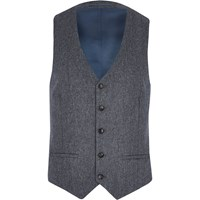 River Island Mens Grey Herringbone Wool Blend Waistcoat