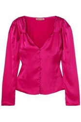 Maggie Marilyn Woman Elle Woods Gathered Silk Satin Blouse Bright Pink