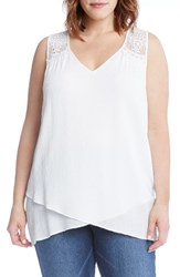 Karen Kane Plus Size Women's Lace Yoke Crossover Top Off White